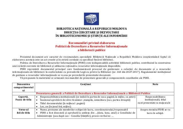 BIBLIOTECA NAŢIONALĂ A REPUBLICII MOLDOVA DIRECŢIA CERCETARE ŞI DEZVOLTARE ÎN BIBLIOTECONOMIE ŞI ŞTIINŢE ALE INFORMĂRII Re...