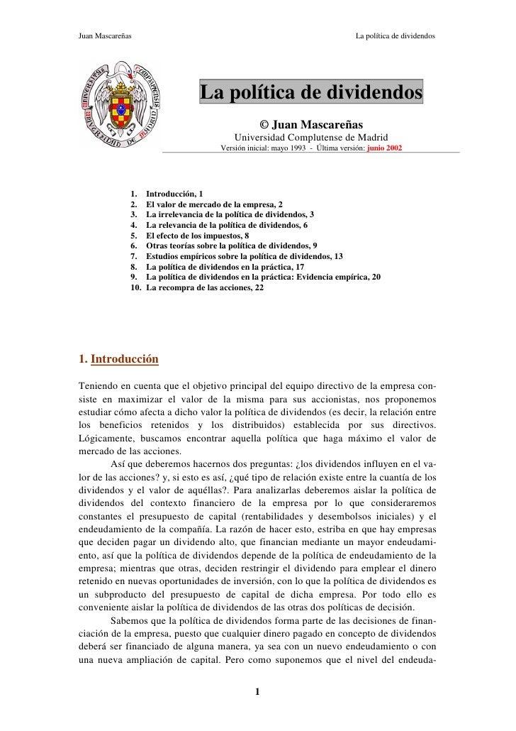 Juan Mascareñas                                                                 La política de dividendos                 ...