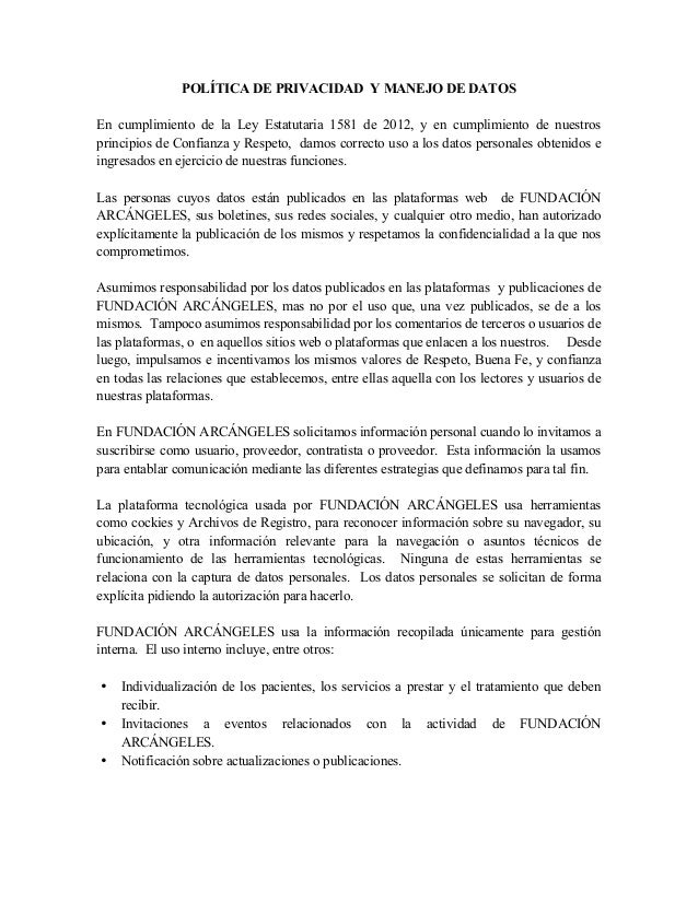 POLÍTICA DE PRIVACIDAD Y MANEJO DE DATOS En cumplimiento de la Ley Estatutaria 1581 de 2012, y en cumplimiento de nuestros...
