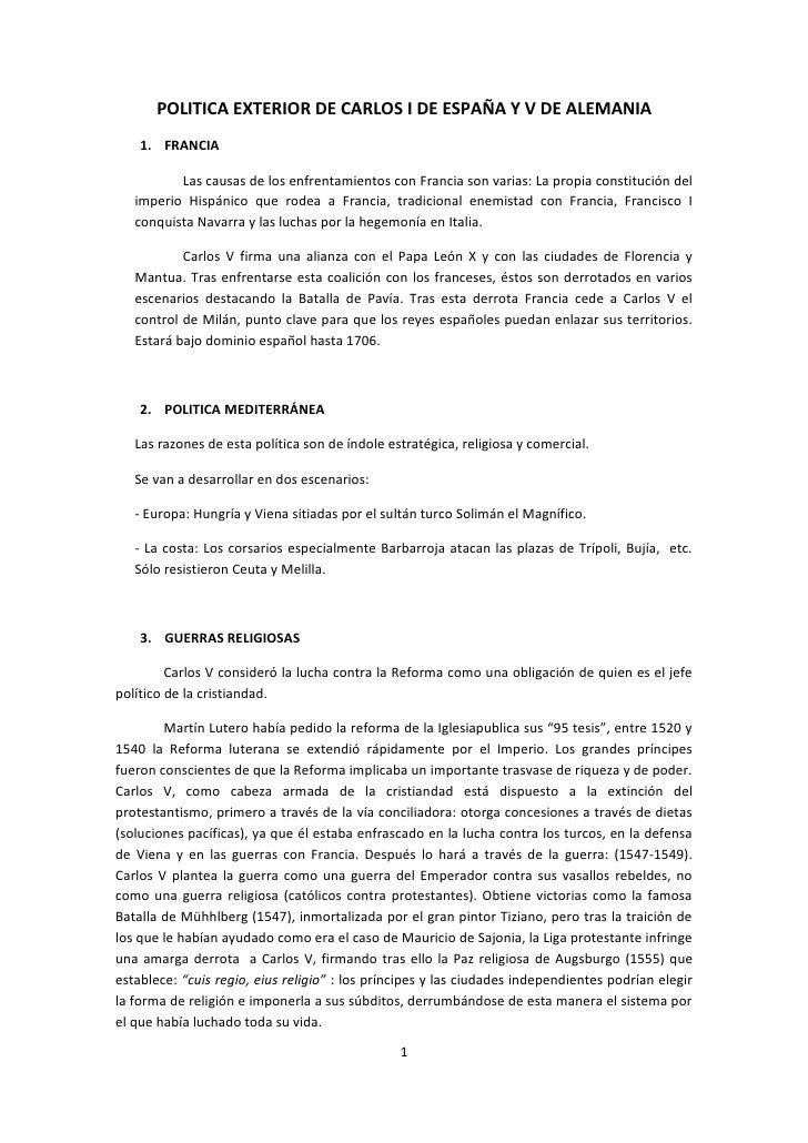 Politica exterior de carlos v for Politica exterior de espana