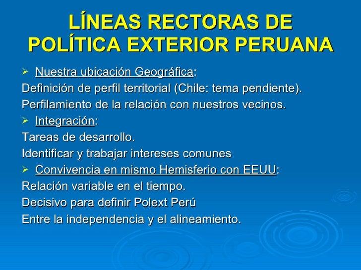 Politica exterior peruana for Definicion exterior