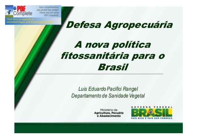 Defesa Agropecuária  A nova política  fitossanitária para o  Brasil  Luis Eduardo Pacifici Rangel  Departamento de Sanidad...