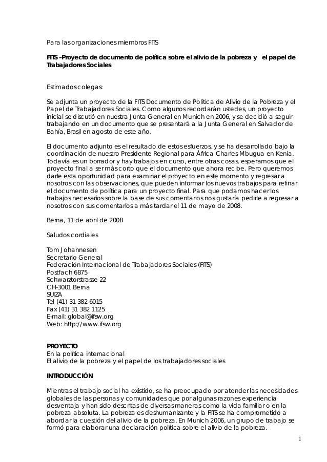 Para las organizaciones miembros FITSFITS –Proyecto de documento de política sobre el alivio de la pobreza y el papel deTr...