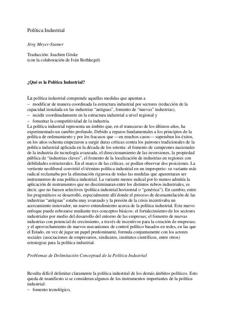 Política IndustrialJörg Meyer-StamerTraducción: Joachim Göske(con la colaboración de Iván Rothkegel)¿Qué es la Política In...
