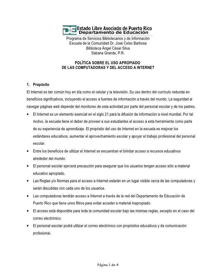 Programa de Servicios Bibliotecarios y de Información                               Escuela de la Comunidad Dr. José Celso...