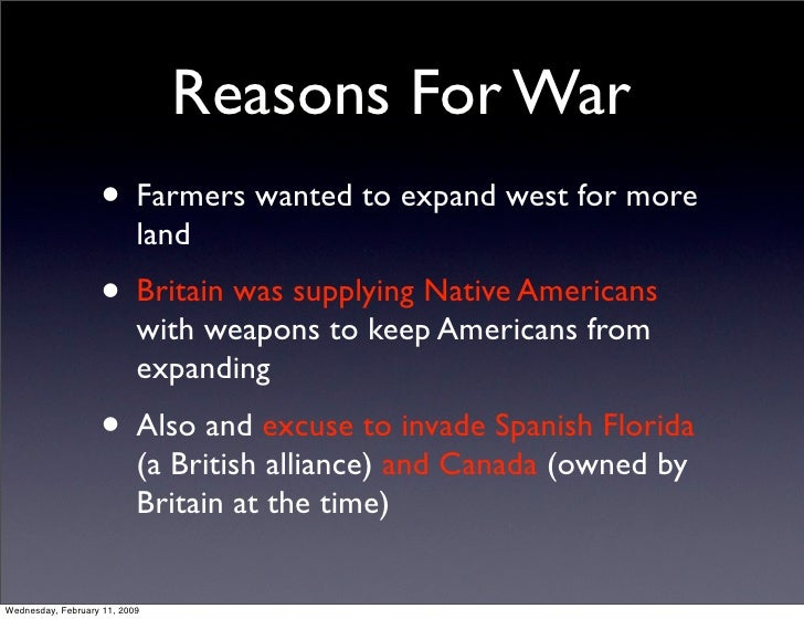 Political And Economic Causes of War of 1812.Key