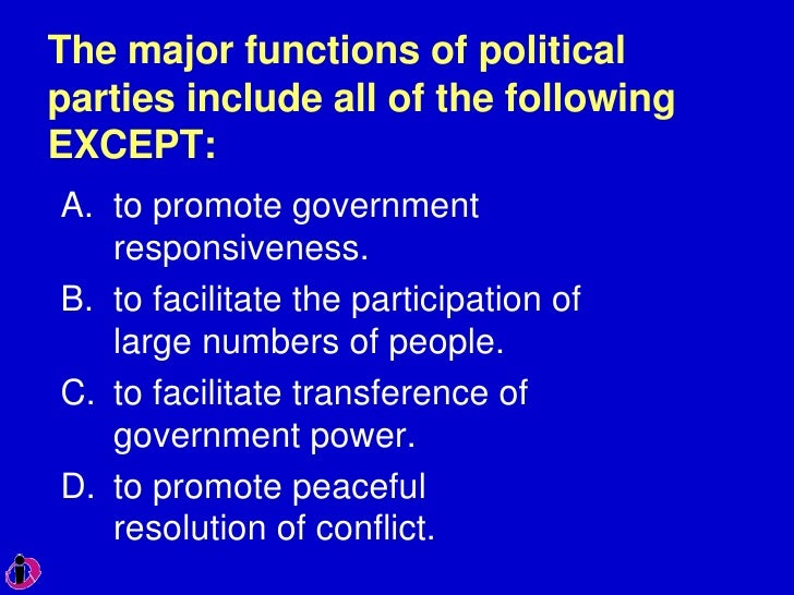 what are two functions of political parties