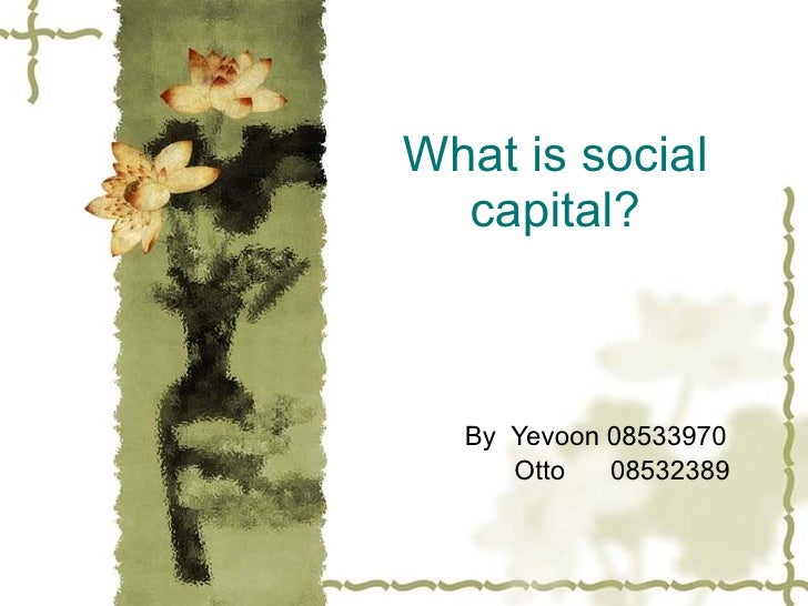 What is social   capital?      By Yevoon 08533970      Otto   08532389