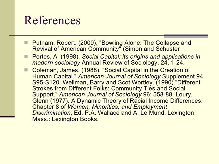 robert putnam essay Bowling alone warns americans that their stock of social capital, the very fabric of their connections with each other, has been accelerating down putnam describes the resulting impoverishment of their lives and communitiesdrawing on evidence that includes nearly half a million interviews conducted over a quarter of a century in.
