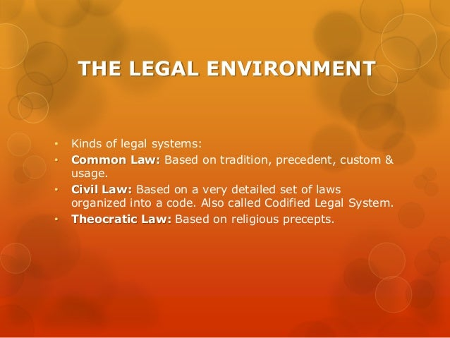 legal environment This paper explores how the legal environment affects bank behavior in 20 transition economies based on a newly constructed data set we find that banks' loan portfolio composition depends on the legal environment if banks operate in a well-functioning legal environment they lend relatively more.