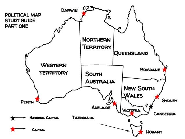 Political Map of Australia Study Guide