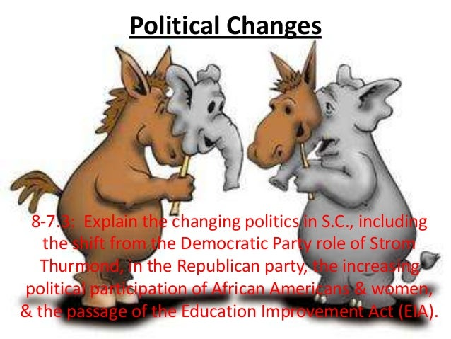 Political Changes 8-7.3: Explain the changing politics in S.C., including the shift from the Democratic Party role of Stro...