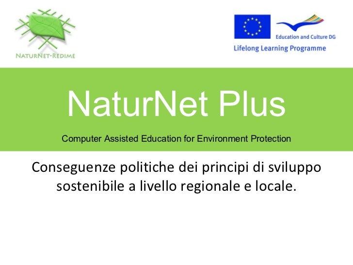 Conseguenze politiche dei principi di sviluppo sostenibile a livello regionale e locale. NaturNet Plus Computer Assisted E...