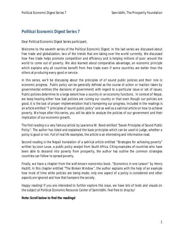 Political Economic Digest Series 7 Samriddhi, The Prosperity Foundation 1 Political Economic Digest Series 7 Dear Politica...
