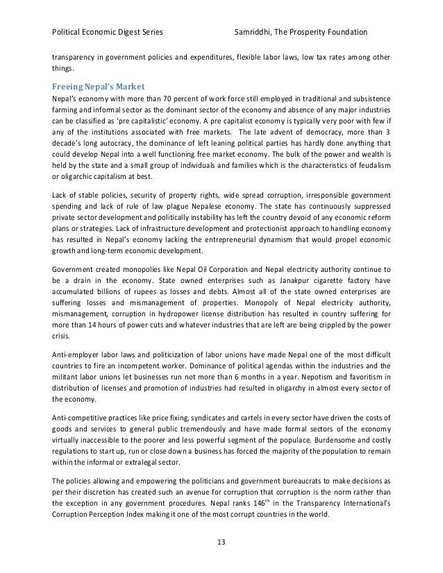 Political Economic Digest Series Samriddhi, The Prosperity Foundation 13 transparency in government policies and expenditu...
