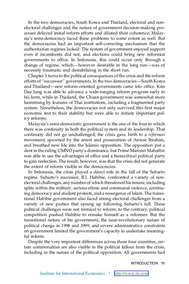 INTRODUCTION 11 In the two democracies, South Korea and Thailand, electoral and non- electoral challenges and the nature o...