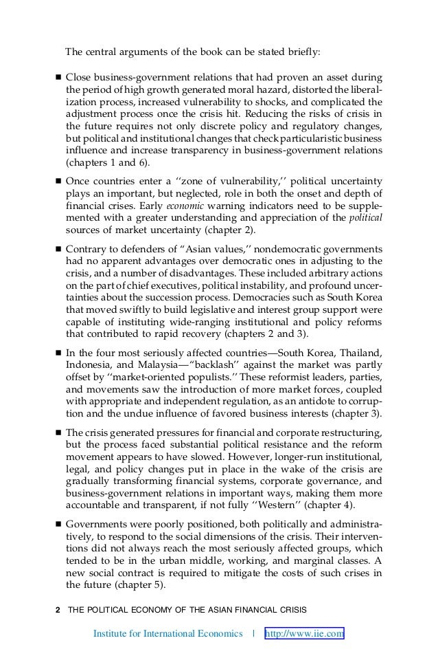 2 THE POLITICAL ECONOMY OF THE ASIAN FINANCIAL CRISIS The central arguments of the book can be stated briefly: Ⅲ Close bus...