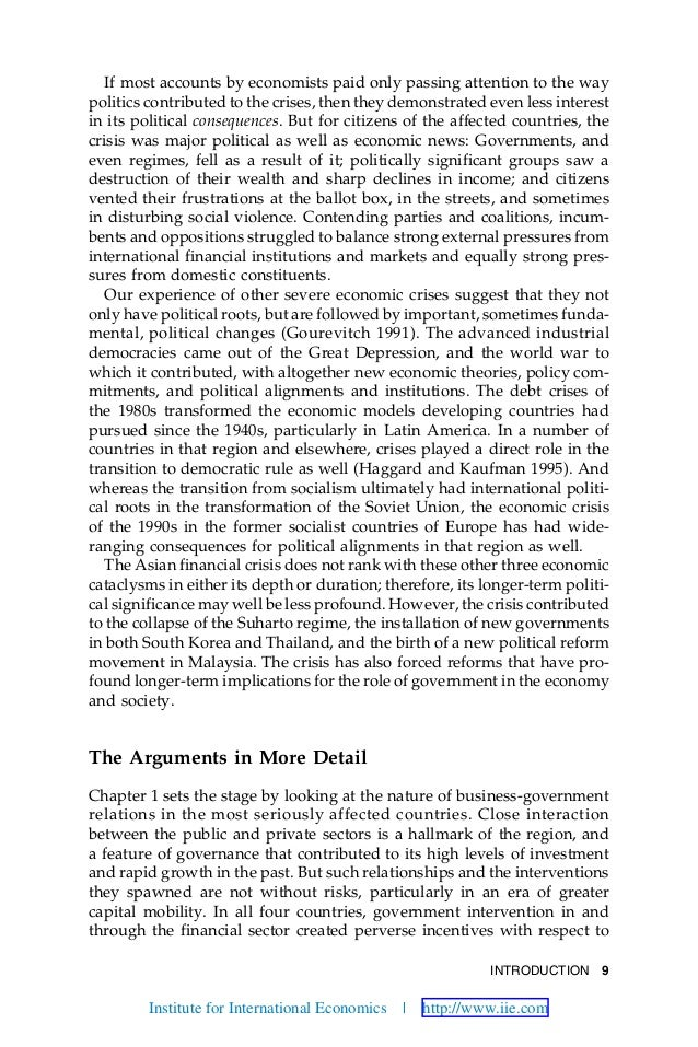 INTRODUCTION 9 If most accounts by economists paid only passing attention to the way politics contributed to the crises, t...