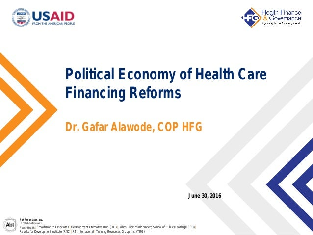 Political Economy Of Healthcare Financing Reforms