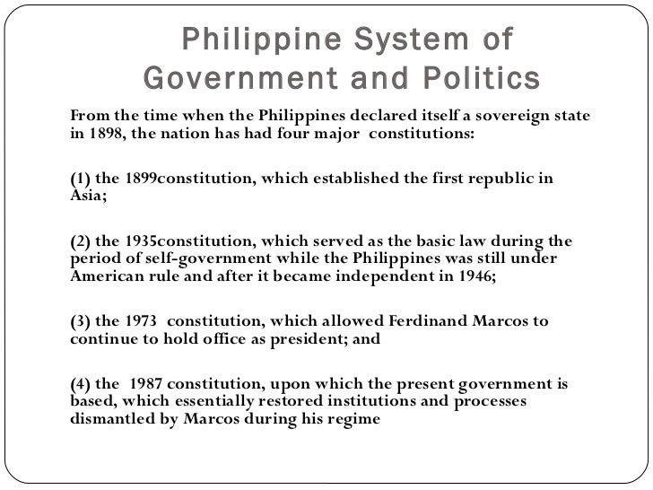 the philippine government system during the american period Spanish period (1521 to 1898) bandala system implemented by spanish authorities in the philippines that required native filipino farmers to sell their goods to the government this is the end of the preview.