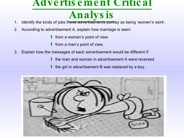 an analysis of how advertisement portray a man and women The exploitation of women in mass media is the use or portrayal of women in the mass media sexualized girls and women in his ads it often portrays men objectifying women via gazing at women's breasts and/or labia.