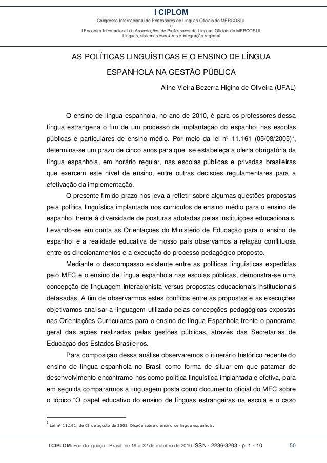I CIPLOM Congresso Internacional de Professores de Línguas Oficiais do MERCOSUL e I Encontro Internacional de Associações ...