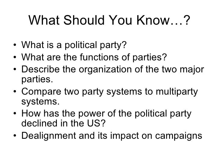 Political Parties – Worksheet Comparing American Political Parties