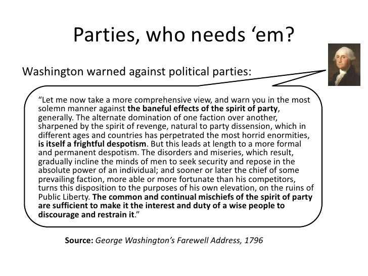 Marianne Williamson quote: The Founders didn't mention ... |George Washington Warning Against Parties