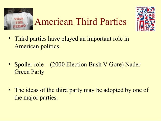 the role and importance of third parties in the united states election A brief look at the history of third parties in america by gary odom, political activist and former national field director for the constitution party most americans have been led to believe.