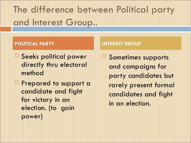 essay on interest groups and political parties Free essay: political interest groups have had a profound influence over  important  political parties and interest groups parties are not mentioned in the  us.