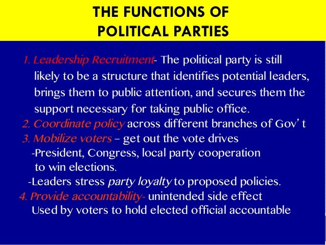 Main functions of political parties