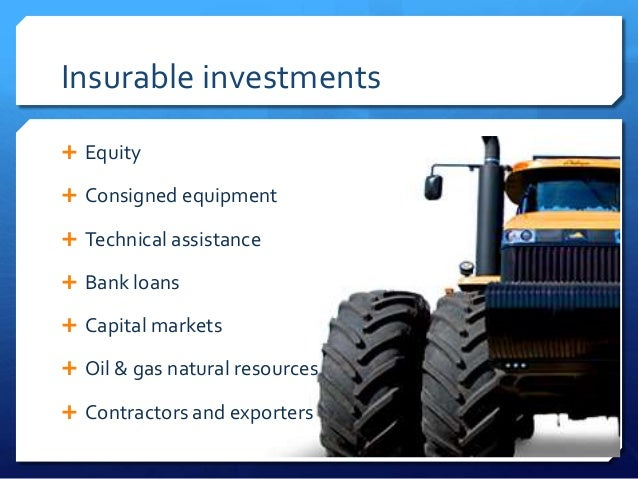 Insurable investments Equity Consigned equipment Technical assistance Bank loans Capital markets Oil & gas natural r...