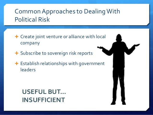 Common Approaches to Dealing WithPolitical Risk Create joint venture or alliance with local  company Subscribe to sovere...