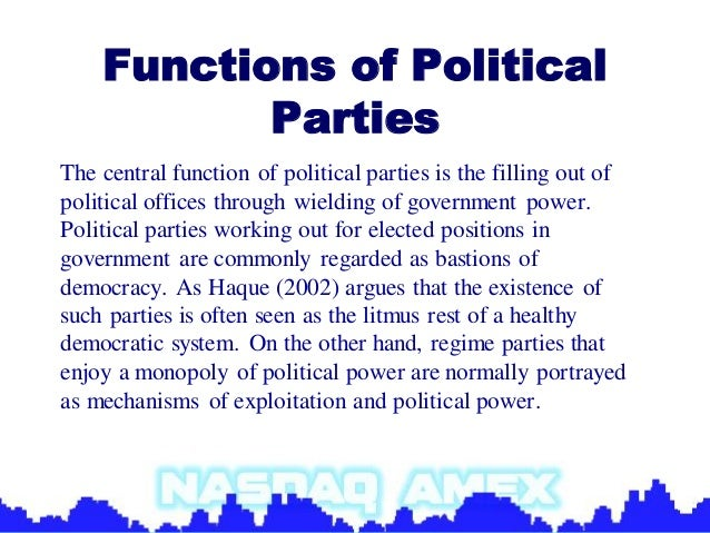 political parties purpose functions and types Taking a look at who provides the direction of our public policy, this quiz and corresponding worksheet will help you gauge your knowledge of the functions and roles of political parties.