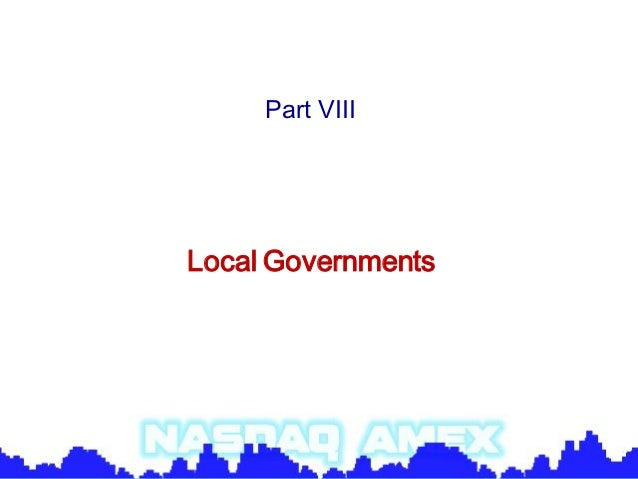 Part VIIILocal Governments