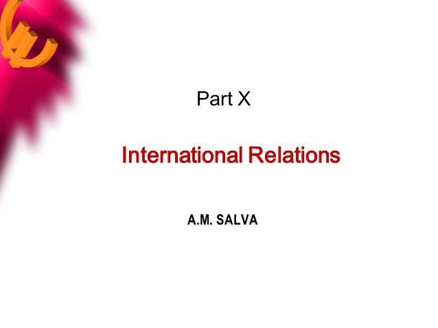 Part XInternational Relations      A.M. SALVA