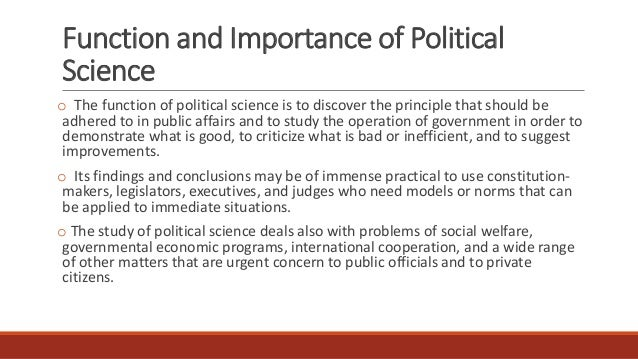 function of political science