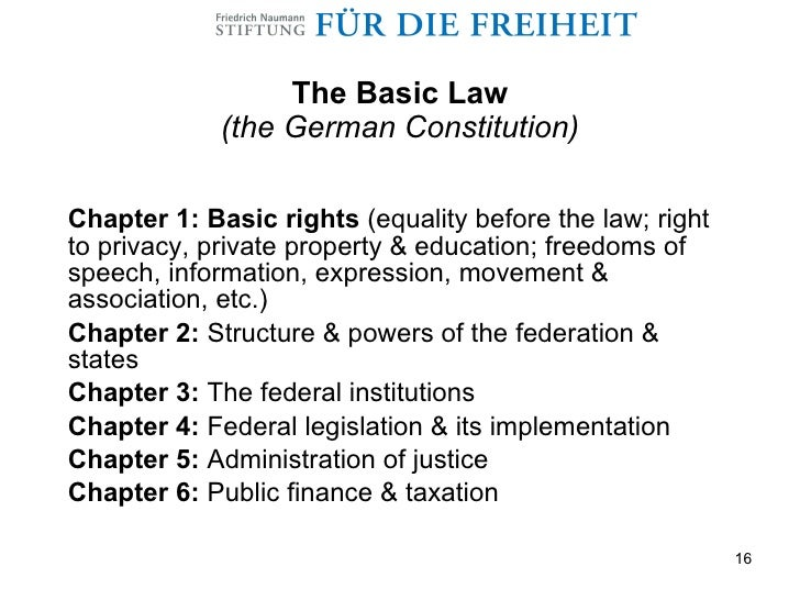 german constitution The framers of the federal republic of germany's 1949 constitution sought to create safeguards against the emergence of either an overly fragmented, multiparty democracy, similar to the weimar republic (1918-33), or authoritarian institutions characteristic of the nazi dictatorship of the third reich (1933-45).