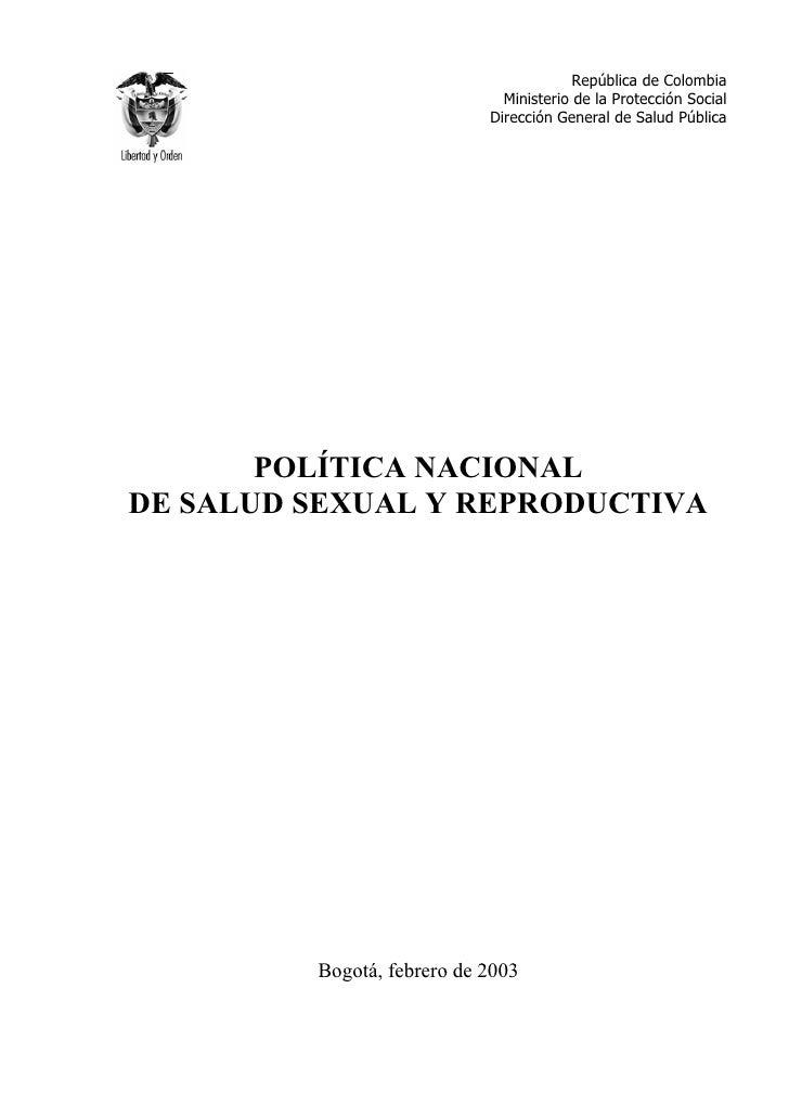 República de Colombia                              Ministerio de la Protección Social                            Dirección...