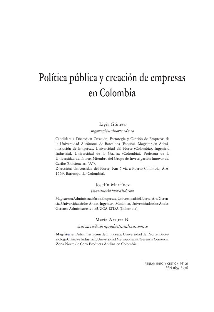 Política pública y creación de empresas              en Colombia                                 Liyis Gómez              ...