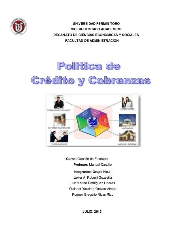UNIVERSIDAD FERMIN TORO VICERECTORADO ACADEMICO DECANATO DE CIENCIAS ECONOMICAS Y SOCIALES FACULTAD DE ADMINISTRACIÓN Curs...