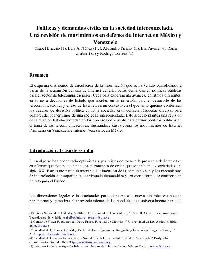 Políticasydemandascivilesenlasociedadinterconectada. UnarevisióndemovimientosendefensadeInternetenMéxico...