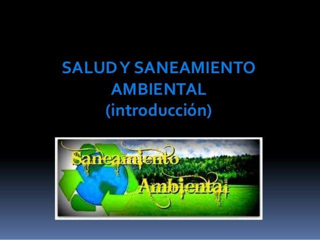 SALUD Y SANEAMIENTO     AMBIENTAL    (introducción)