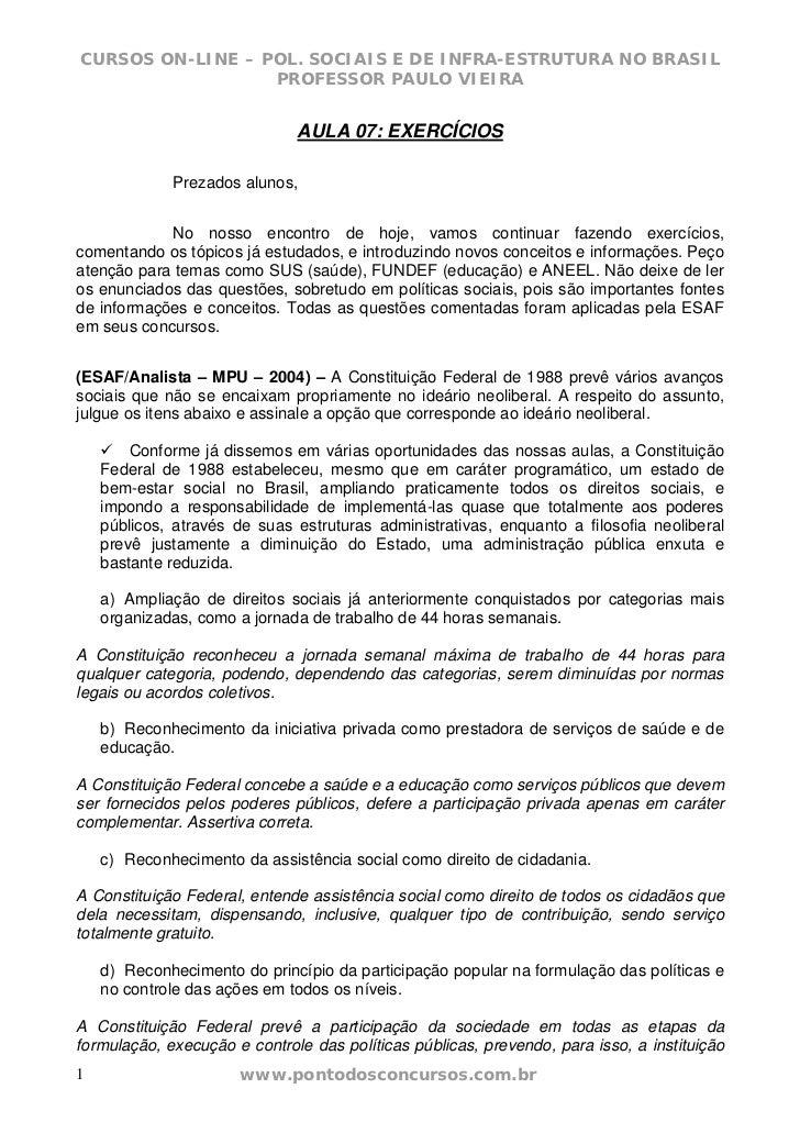 CURSOS ON-LINE – POL. SOCIAIS E DE INFRA-ESTRUTURA NO BRASIL                  PROFESSOR PAULO VIEIRA                      ...