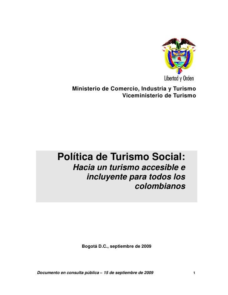 Ministerio de Comercio, Industria y Turismo                                  Viceministerio de Turismo              Políti...