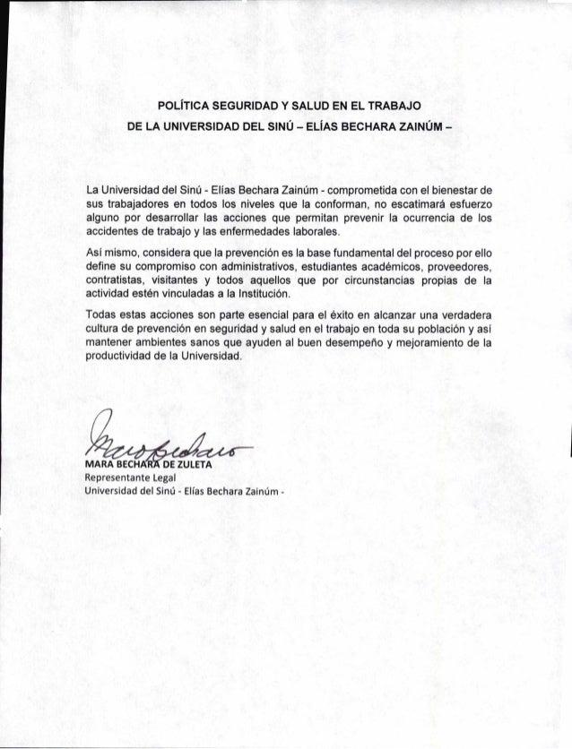 POLiTICA SEGURIDAD Y SALUD EN EL TRABAJO DE LA UNIVERSIDAD DEL SINU — ELiAS BECHARA ZAINUM — La Universidad del Sint) - El...