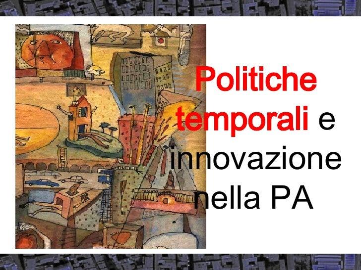 Politiche temporali  e innovazione nella PA
