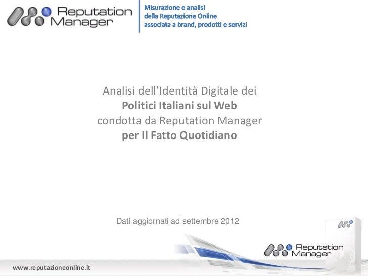 Analisi dell'Identità Digitale dei                               Politici Italiani sul Web                           condo...
