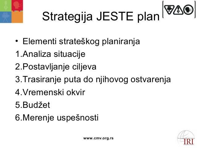 Strategija JESTE plan  • Elementi strateškog planiranja  1.Analiza situacije  2.Postavljanje ciljeva  3.Trasiranje puta do...