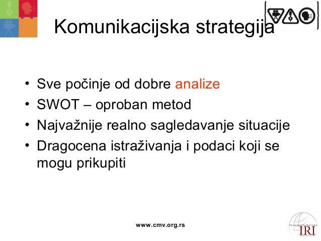 Komunikacijska strategija  • Sve počinje od dobre analize  • SWOT – oproban metod  • Najvažnije realno sagledavanje situac...